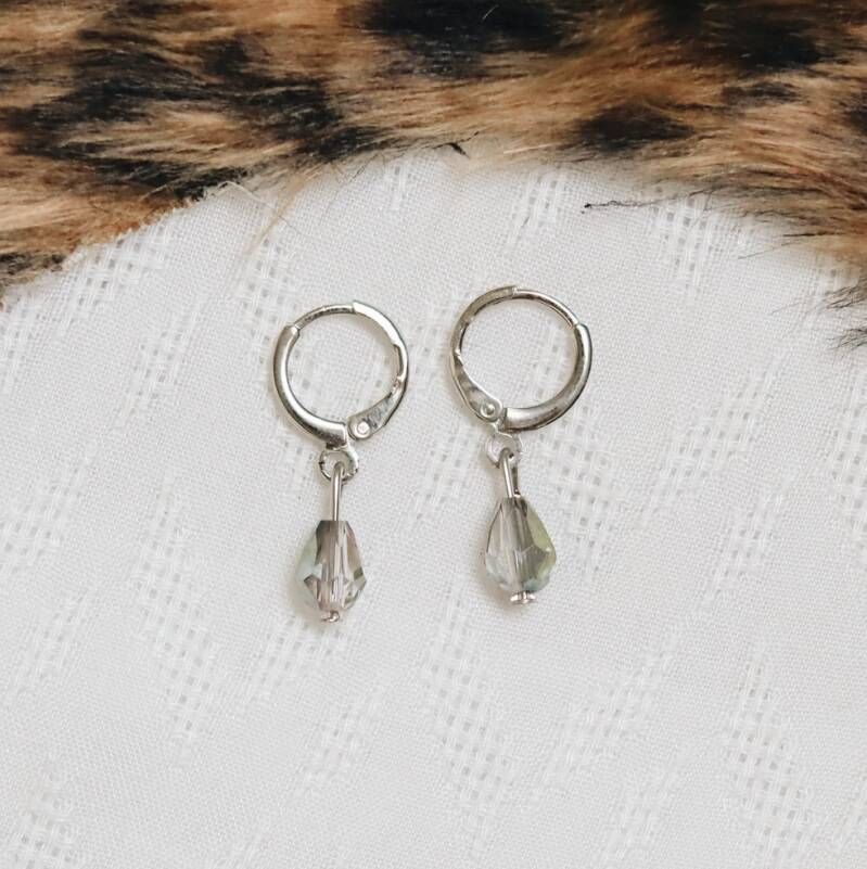 Silver/ color diamant earrings
