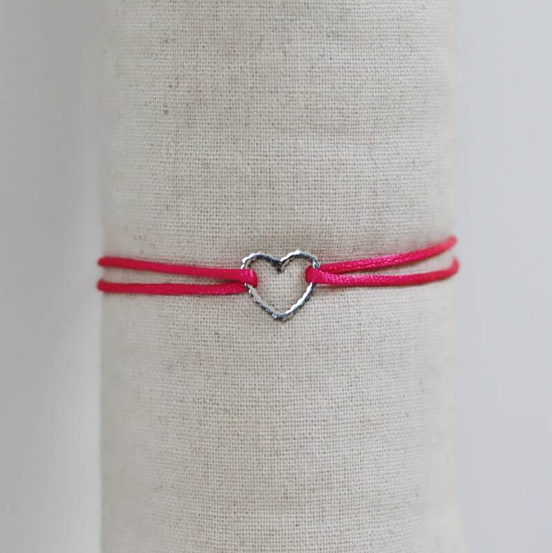 Pink satin with silver heart bracelet