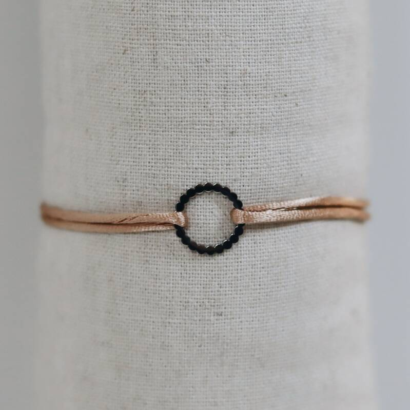 Satin bracelet with silver circle (more colors)
