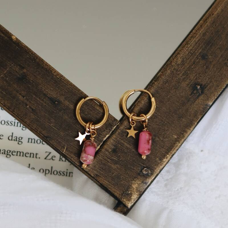 Golden pink candy stone earrings