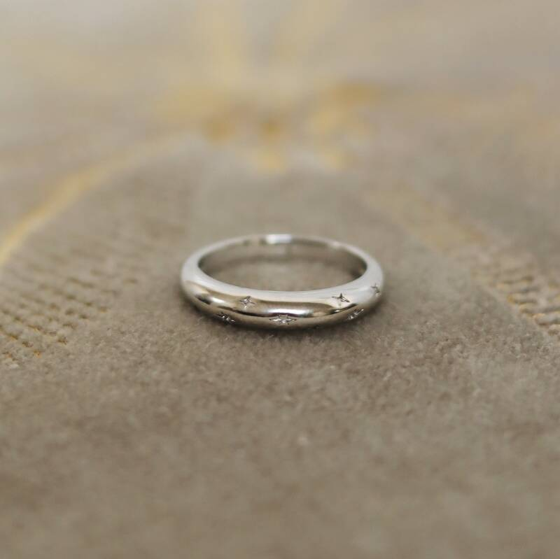 Silver 'starry sky' ring