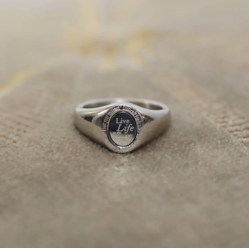 Silver 'live life' ring