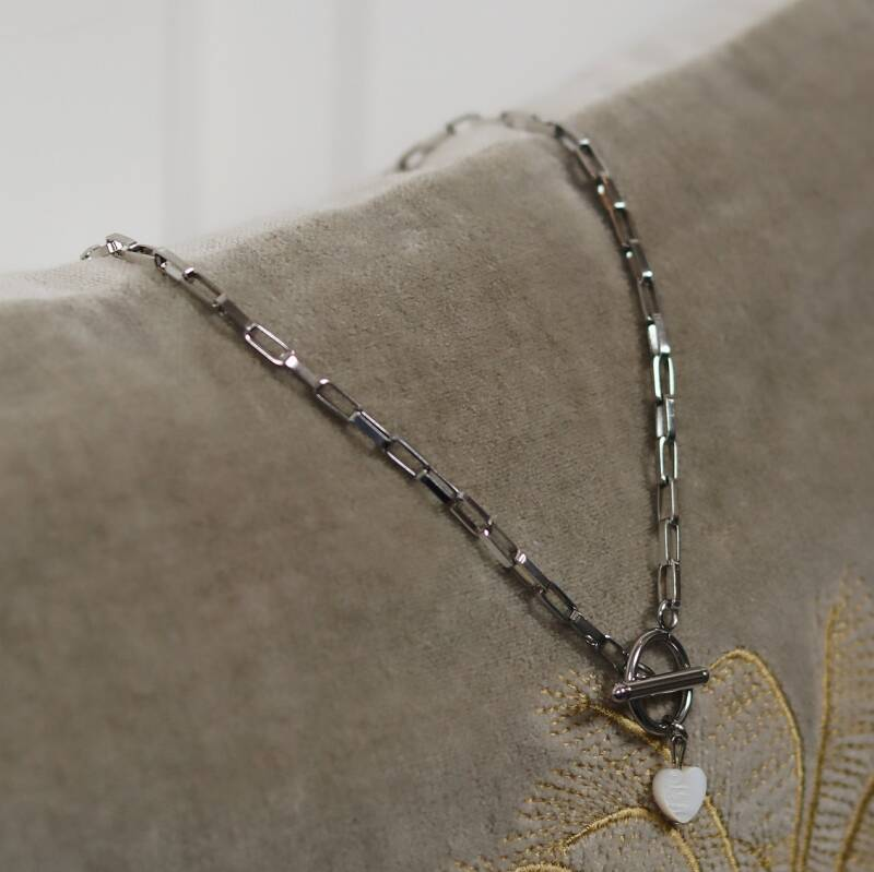 Silver chain with little heart necklace
