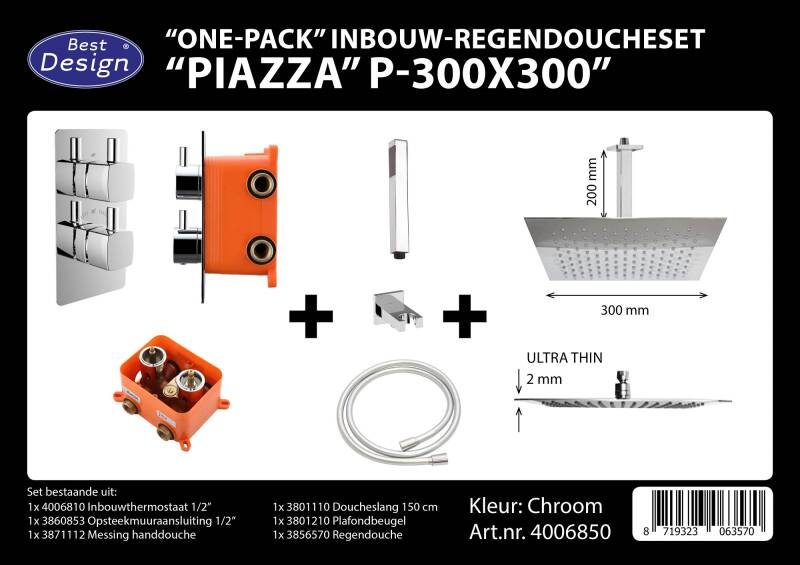 "Best-Design ""One pack"" inbouw-regendoucheset & Inb.box ""Piazza vierkant P-300x300"""