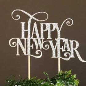 Taarttopper - Happy New Year, zilver