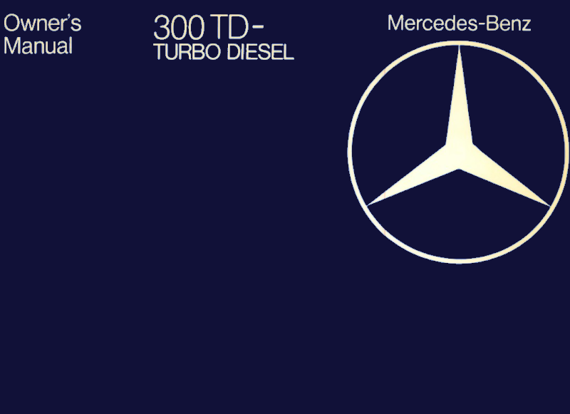 Mercedes-Benz W123 English 1982 Owners Manual [1235842482]