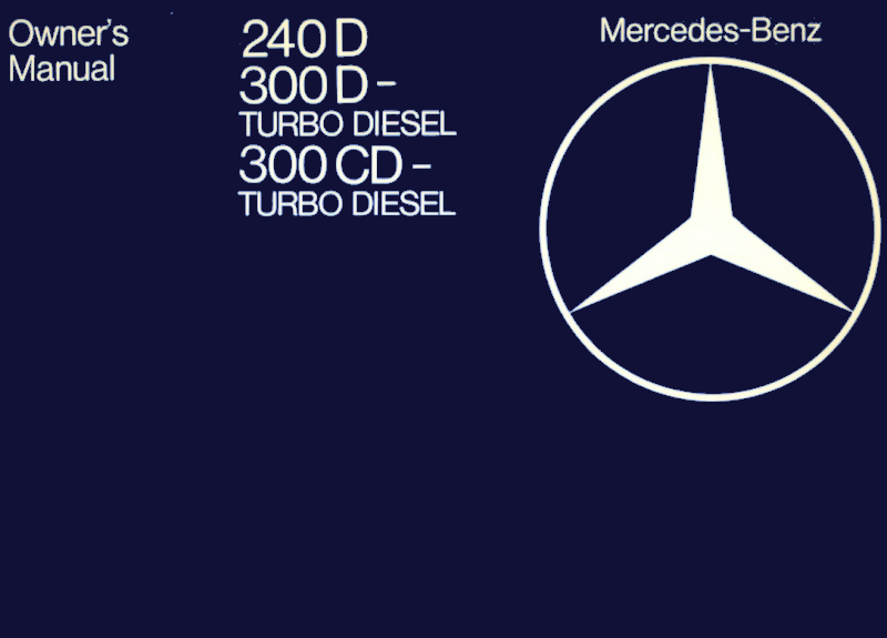 Mercedes-Benz W123 English 1982 Owners Manual [1235842382]