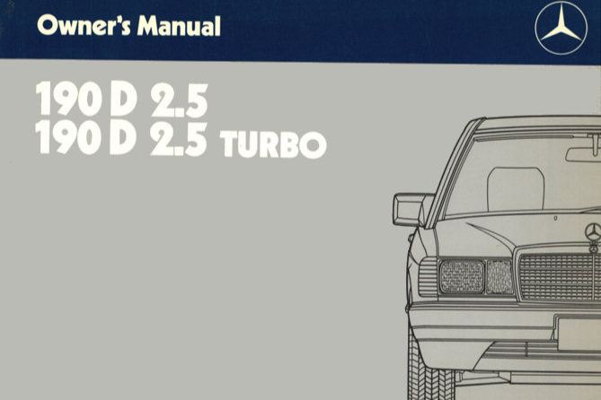 Mercedes-Benz W201 English 1987 Owners Manual [2015848496]