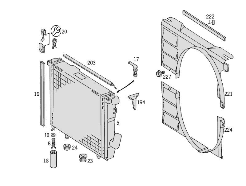 Radiator Mounting And Covering W124  [PRO001059]