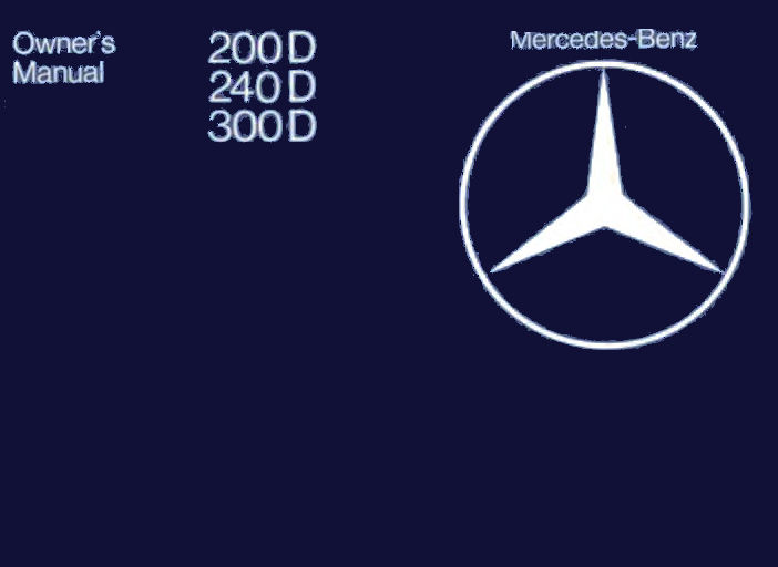 Mercedes-Benz W123 English 1980 Owners Manual [1235845097]