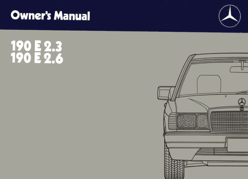 Mercedes-Benz W201 English 1988 Owners Manual [W2011988190E]