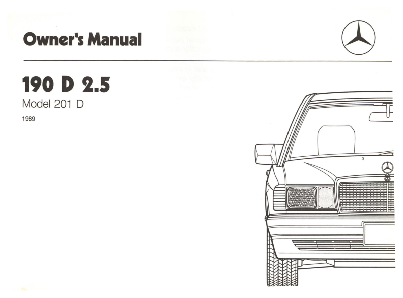 Mercedes-Benz W201 English 1989 Owners Manual [W2011989190D]
