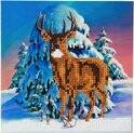 Diamond Painting Crystal Card Kit ® Winter stag, 18x18 cm, Partial Painting