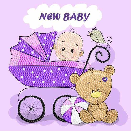 Diamond Painting Crystal Card Kit ® New Baby 18x18 cm, Partial Painting