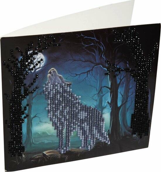 Diamond Painting Crystal Card Kit ® Howling Wolf, 18x18 cm, Partial Painting
