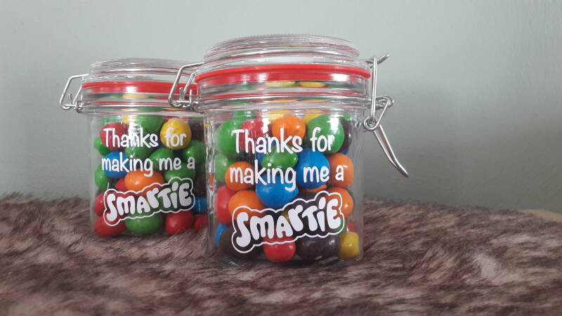 Weckpotje met tekst THANKS FOR MAKING ME A SMARTIE