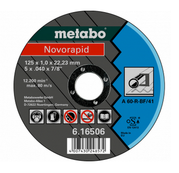 Metabo Novorapid 125 x 1,0 x 22,23 mm, staal, TF 41 (616506000)