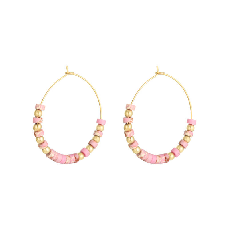 Oorbellen Beaded Hoops Gold