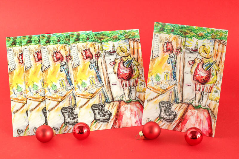 A6 - Santa Claus going on vacation! Set of 5 cards!