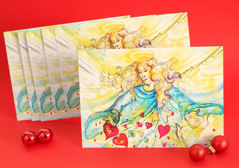 A5 - Set of 5 - Kerst Kaart  - Angel wishes