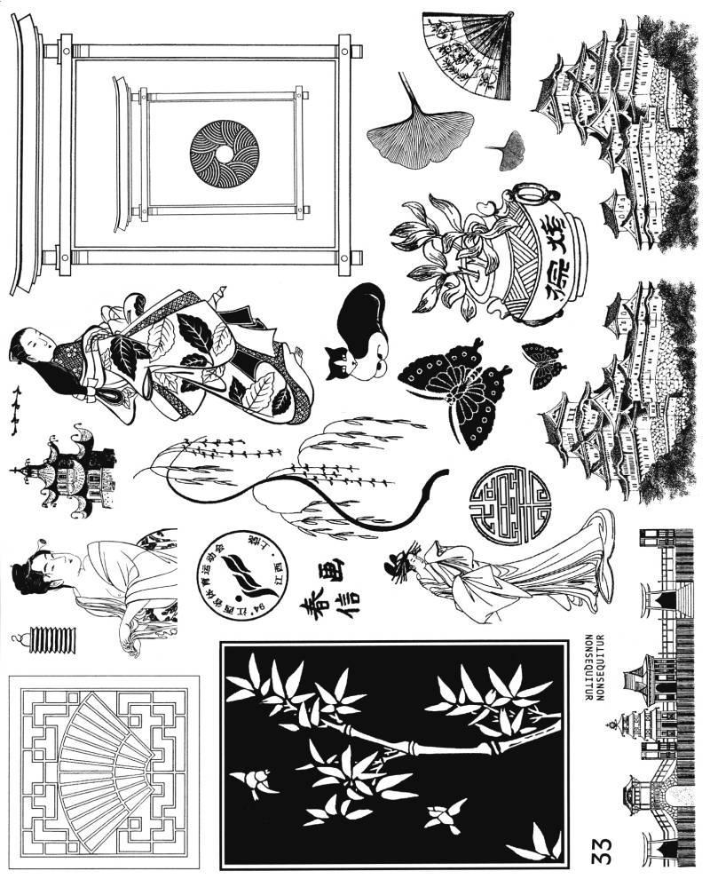 NSPL033 Plate 033 Oriental collage elements