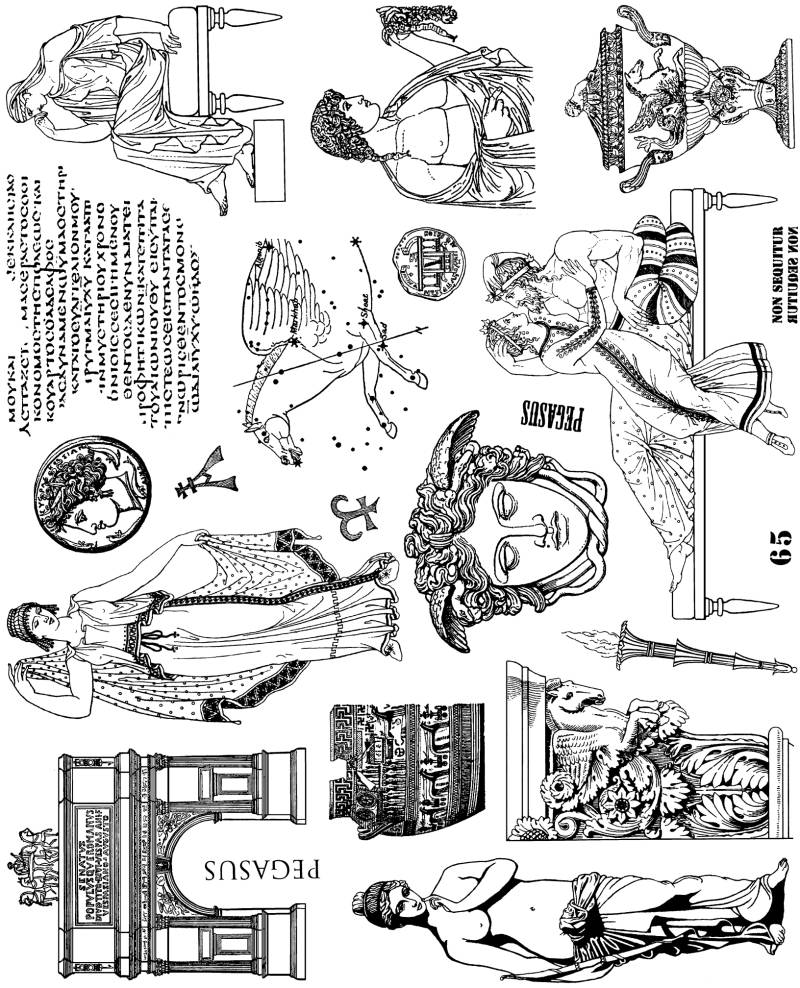 NSPL065 Plate 065 Pegasus and other Greek collage elements