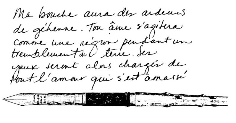 NS Q3710 French text with pen