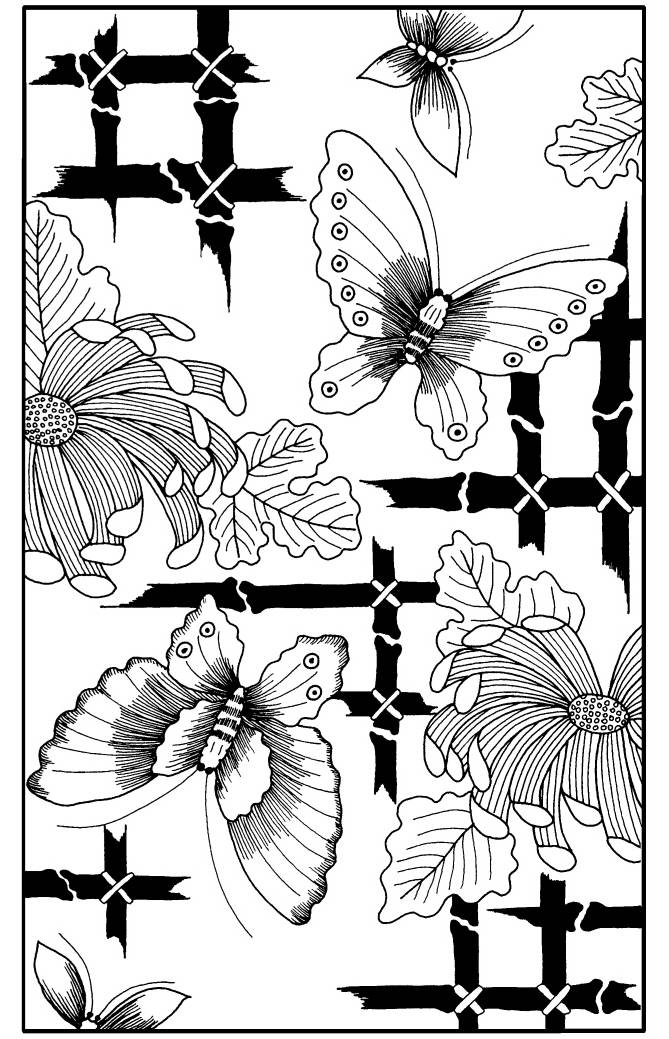 NS R6708 Butterfly bamboo background