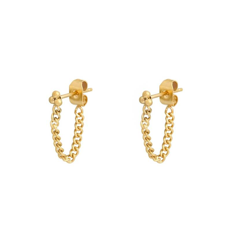 Little dots chain earrings - goud