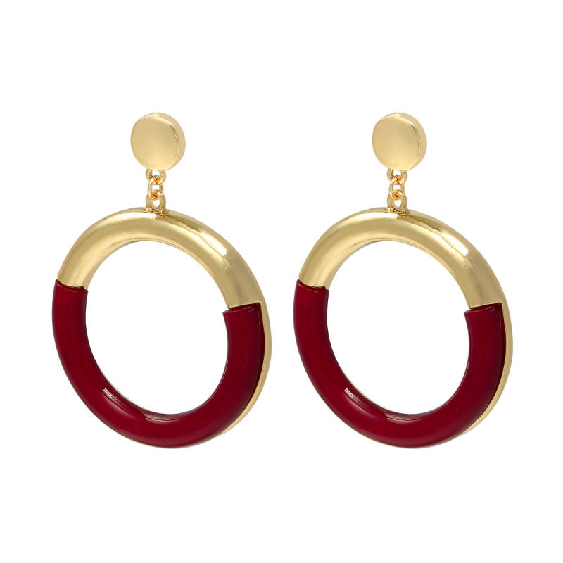 Colorful hoop earrings - rood