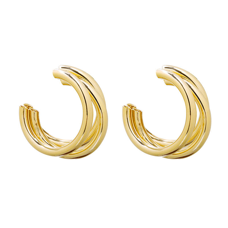 Glam earrings triple - goud