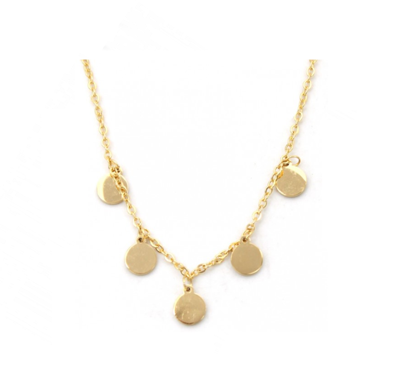Ketting only 5 circles - goud