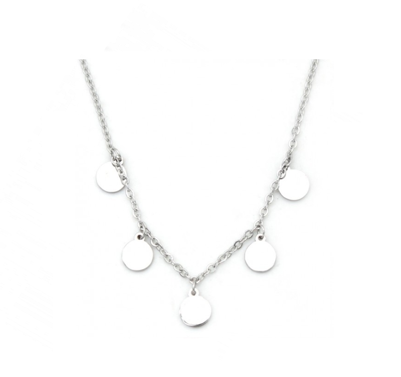 Ketting only 5 circles - zilver