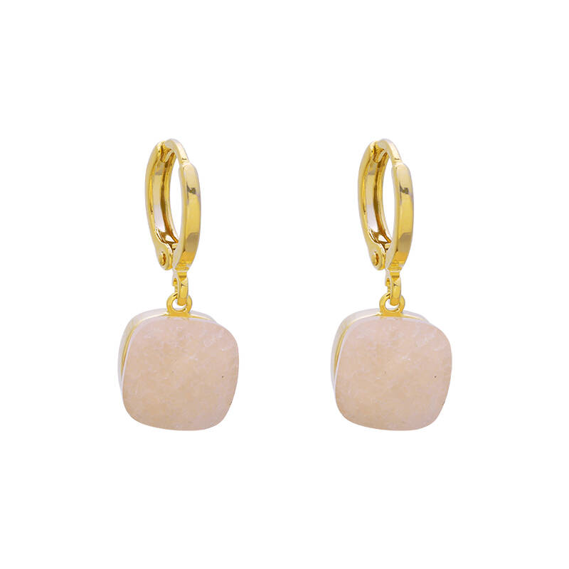 Magic stone  earrings roze - goud