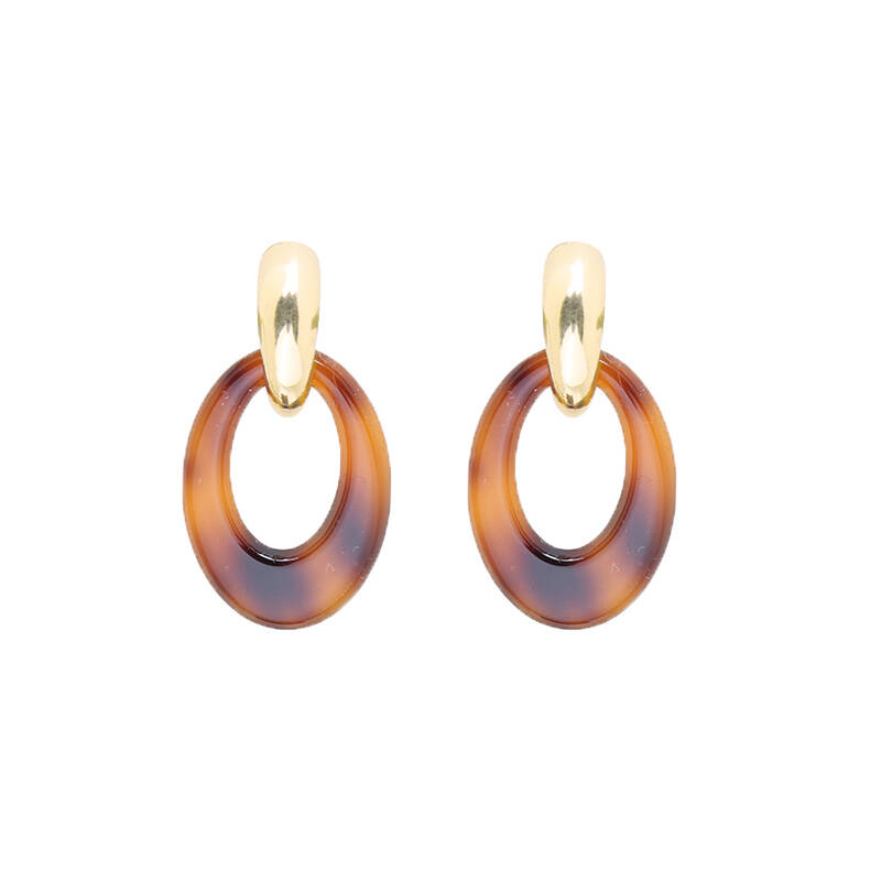 Statement earrings oval rounds - goud