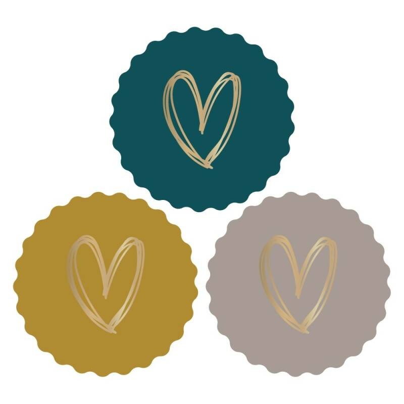 Cadeaustickers  |  Heart  |  Coloured