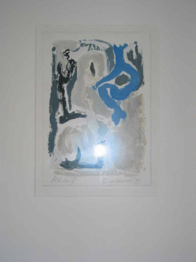 Jose Lakerveld - abstract blauw ( 40 * 50 incl lijst)