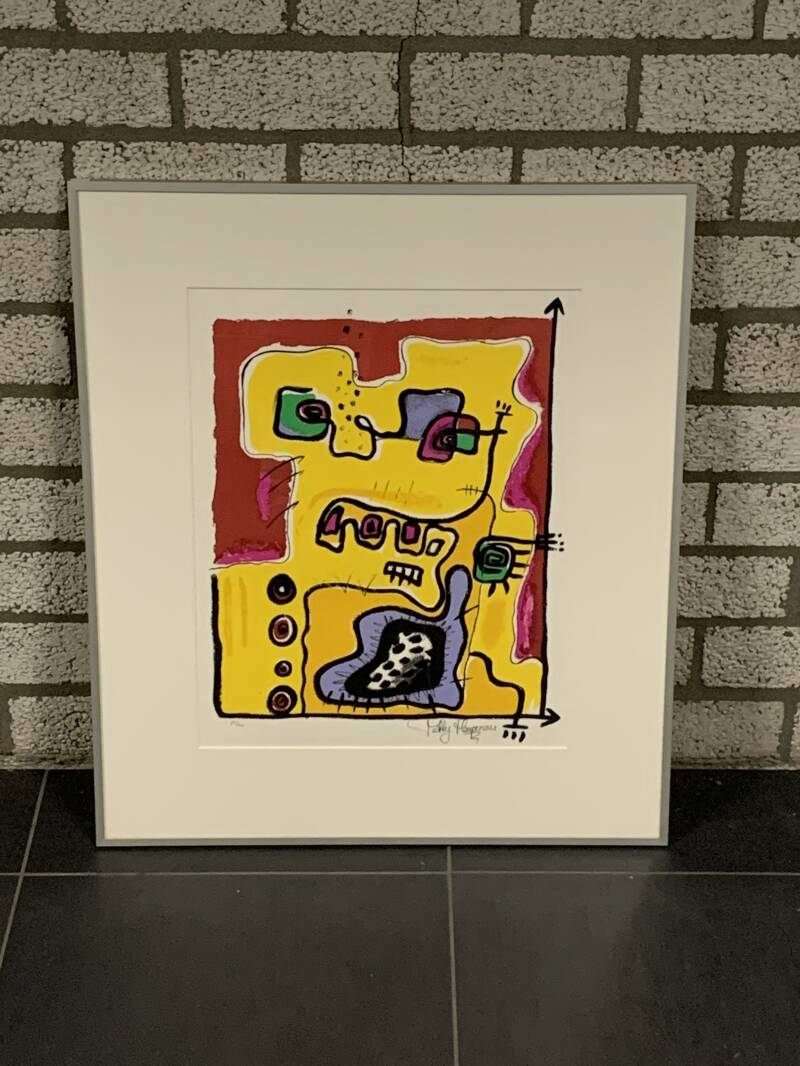 1302 - Patty Harpenau - Abstract geel/rood ( 60 * 70 incl. lijst)