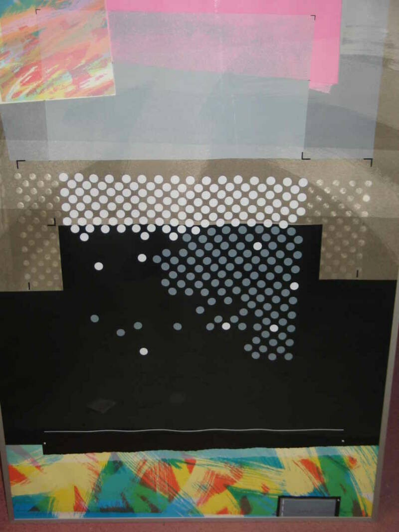 Peter van Loon - Composition with white dots ( 70 * 100 incl lijst)