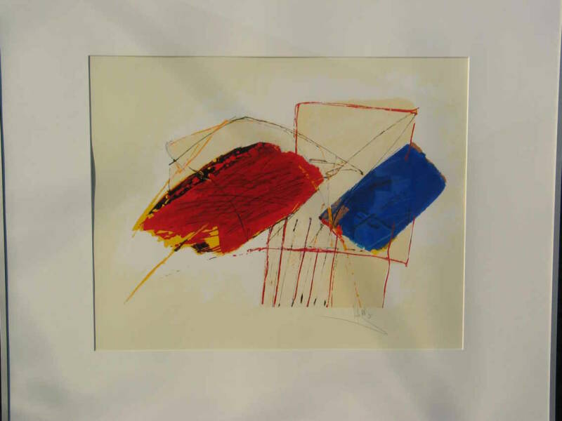 Arty Grimm - abstract rood/blauw (80 * 100 incl lijst)