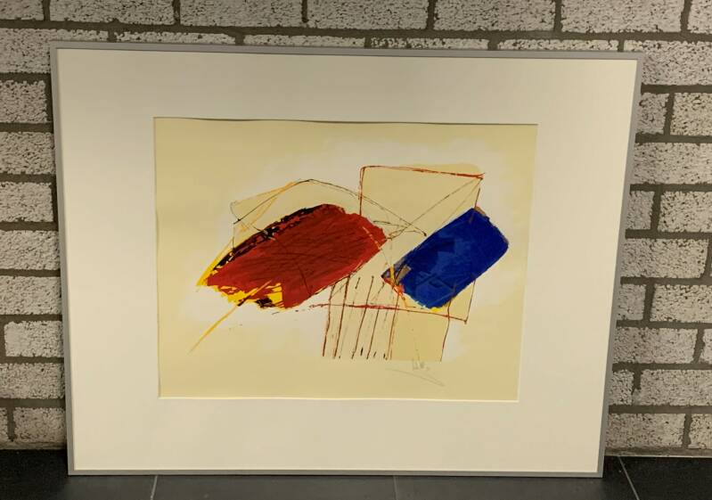 0284 - Arty Grimm - abstract rood/blauw (80 * 100 incl lijst)