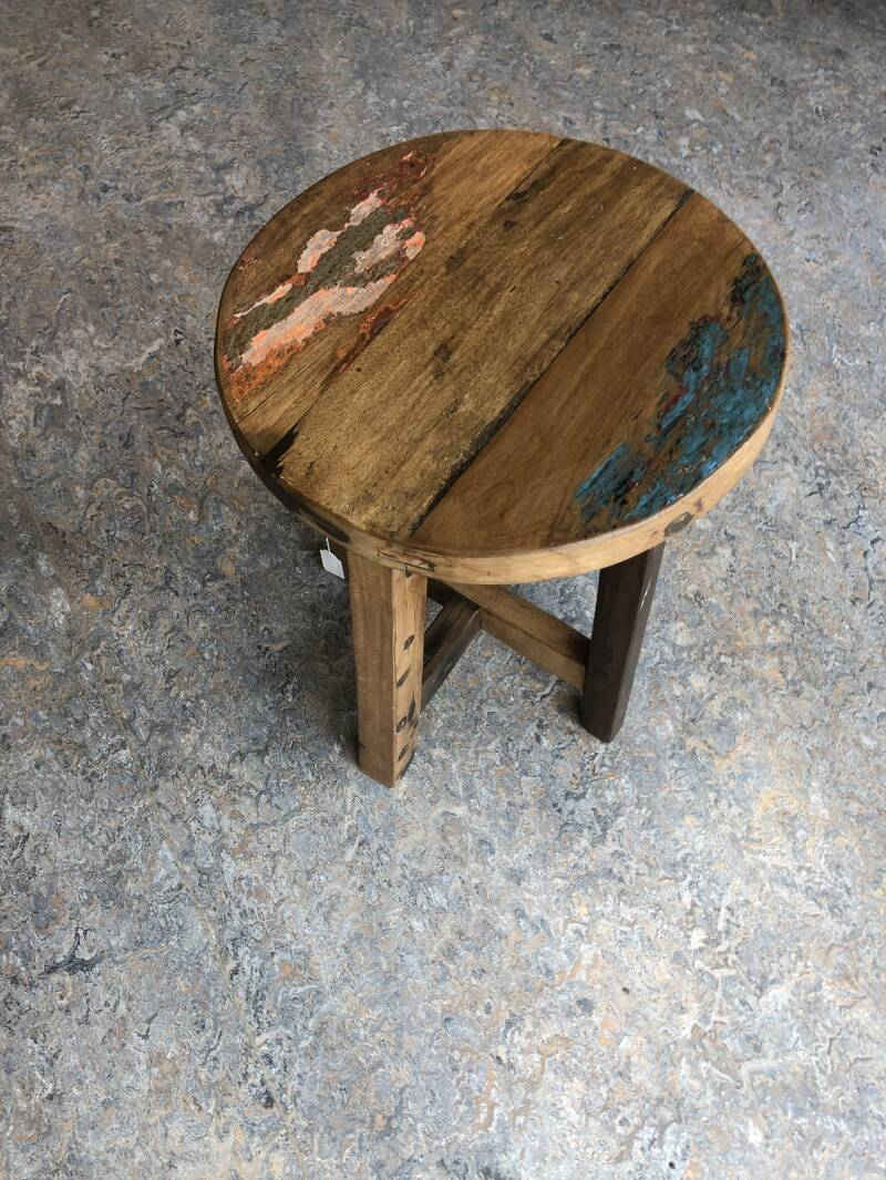 Stool recycled wood rond