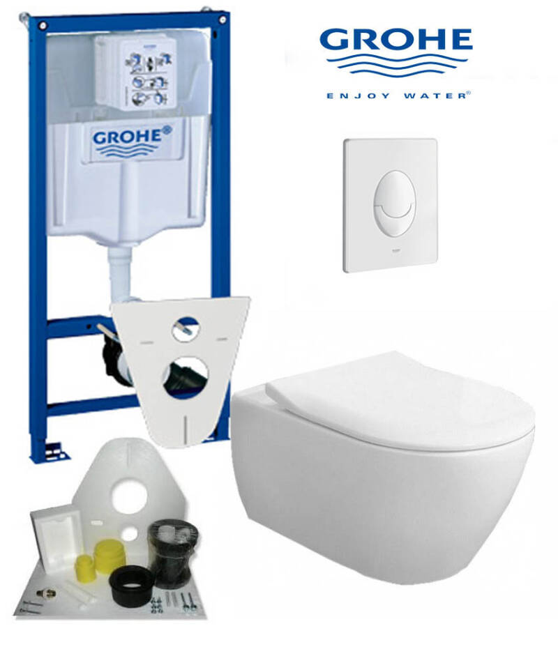 Toilet set Grohe met Subway randloos toilet 56 cm wit