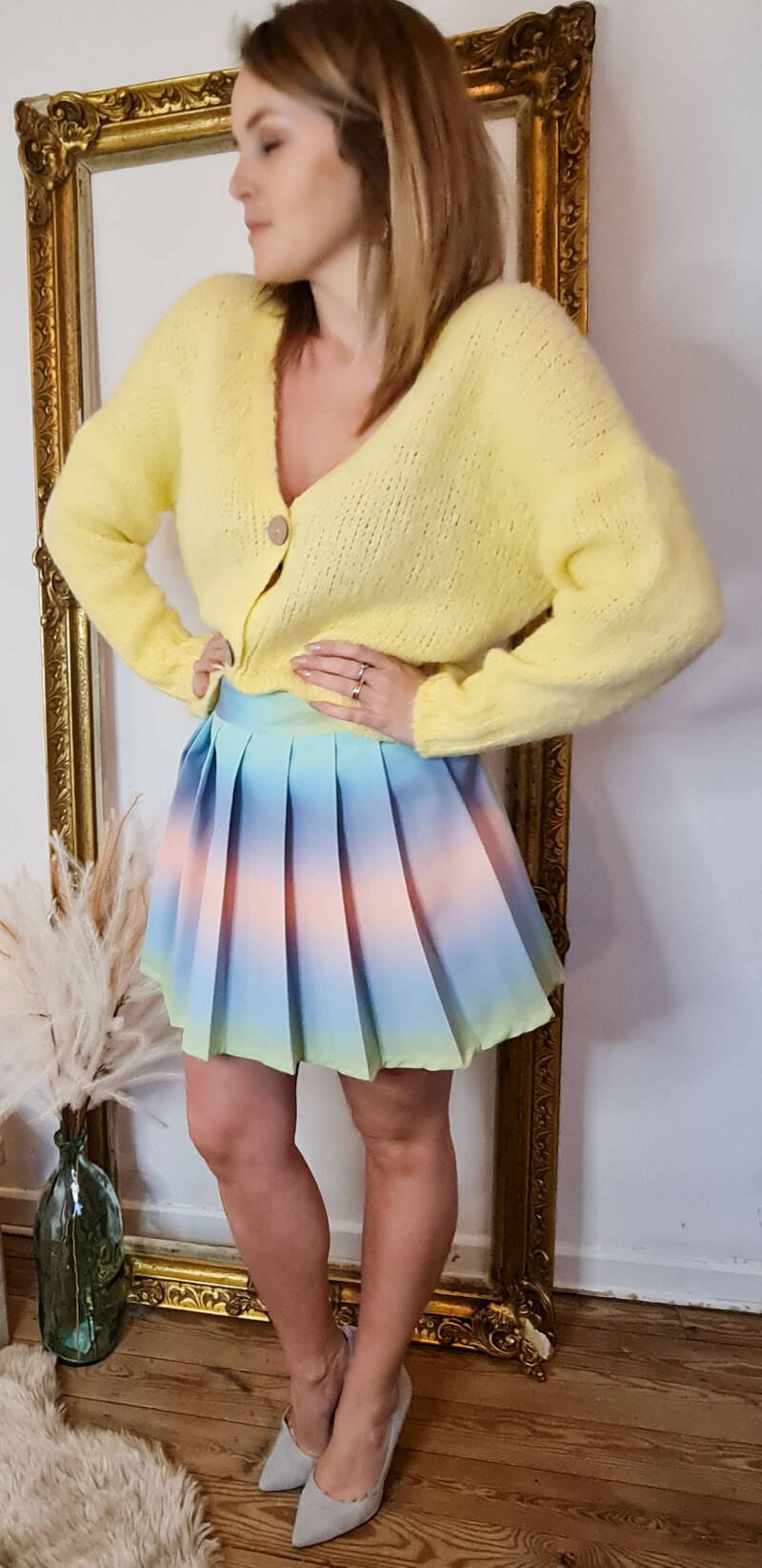 Yellow knitted cardigan