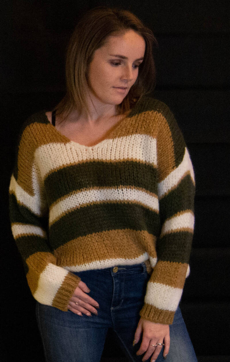 3 color knitted pull : brown, kaki
