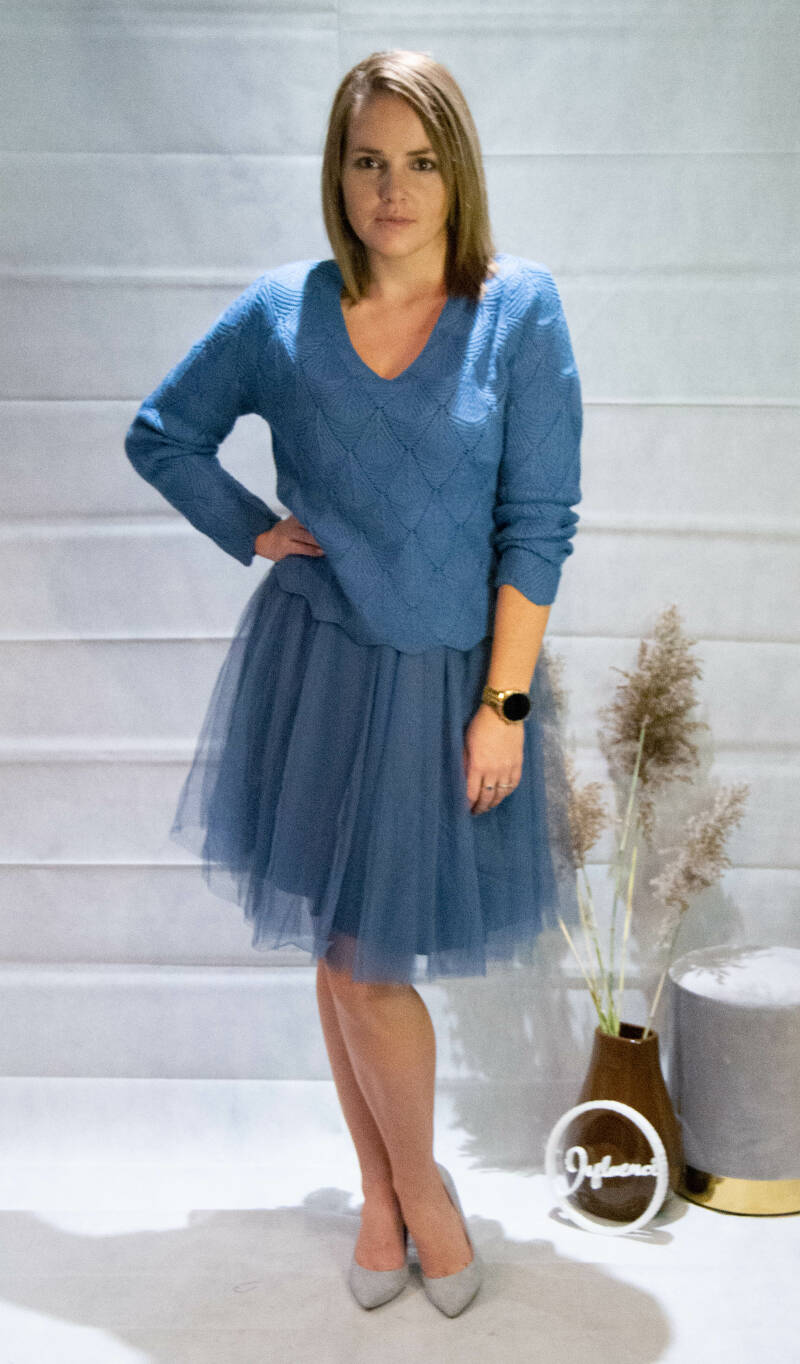 Blue dress and Sweater combi