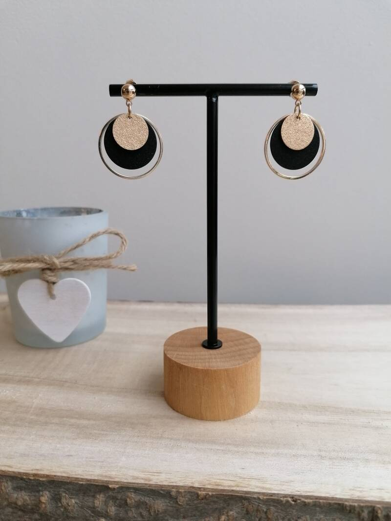 Black and gold small earrings