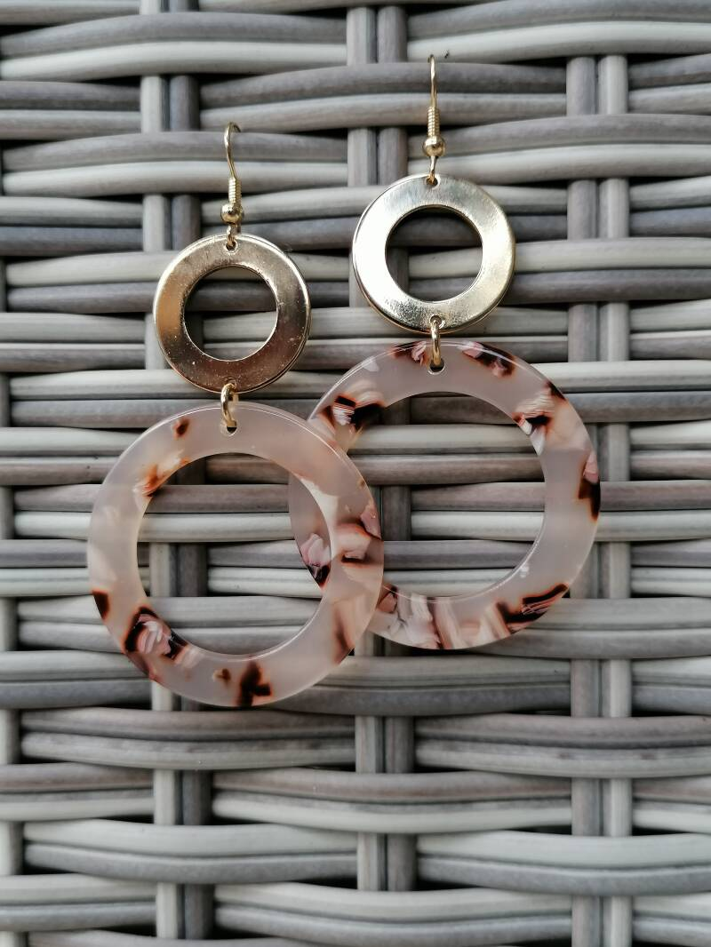 Dubble round gold/marble earring