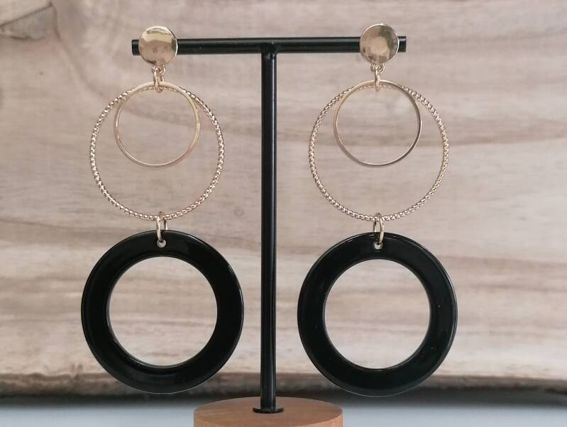 Black and golden earings