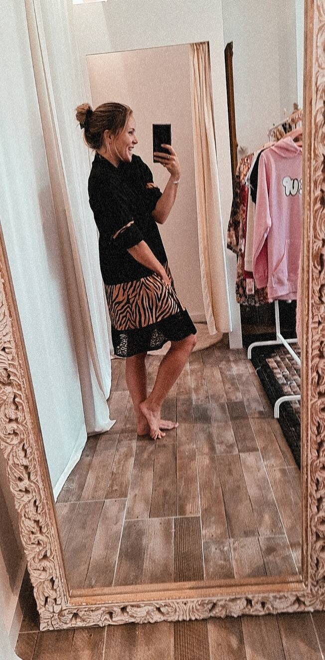 Black dress with tigerstripes and lace